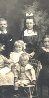 Joseph Herbert & Mary Florence (James) Ford family L-R back  Joseph Victor (Victor), Florence Ruby (Ruby), Front Myrtle Eliza, Ivy Jane, Caroline May & Henry William